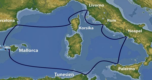AIDA Blu im westlichen Mittelmeer