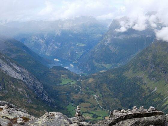 Damals gab es Kreuzfahrtschiffe im Geirangerfjord.