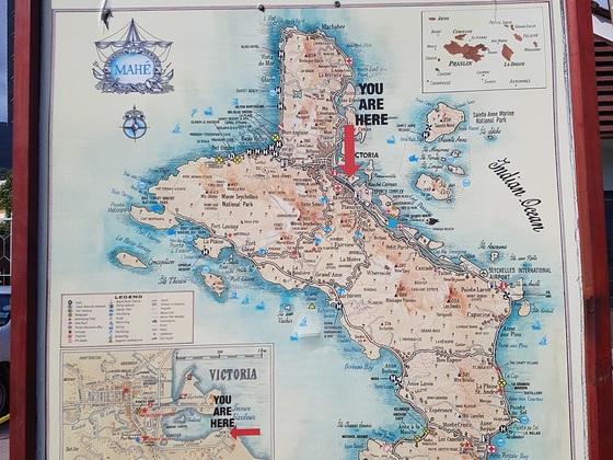 Karte von Mahe mit Markierung Sunset Beach und Takamaka