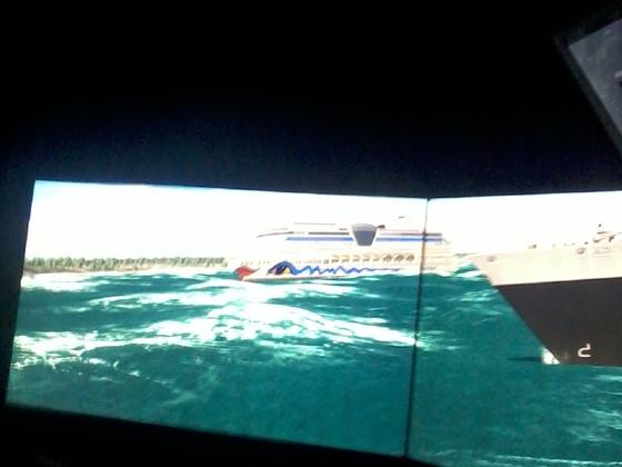 AIda Blu und MS Europa bei schwerer See in der Flensburger Förde - Achtung Schiff-Simulator der Marine