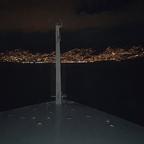 Einlaufen in Madeira. Blick von unserer Kabine aus