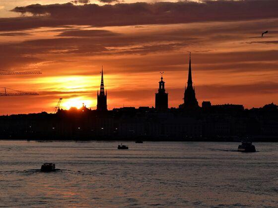 Gamla Stan vor der untergehenden Sonne