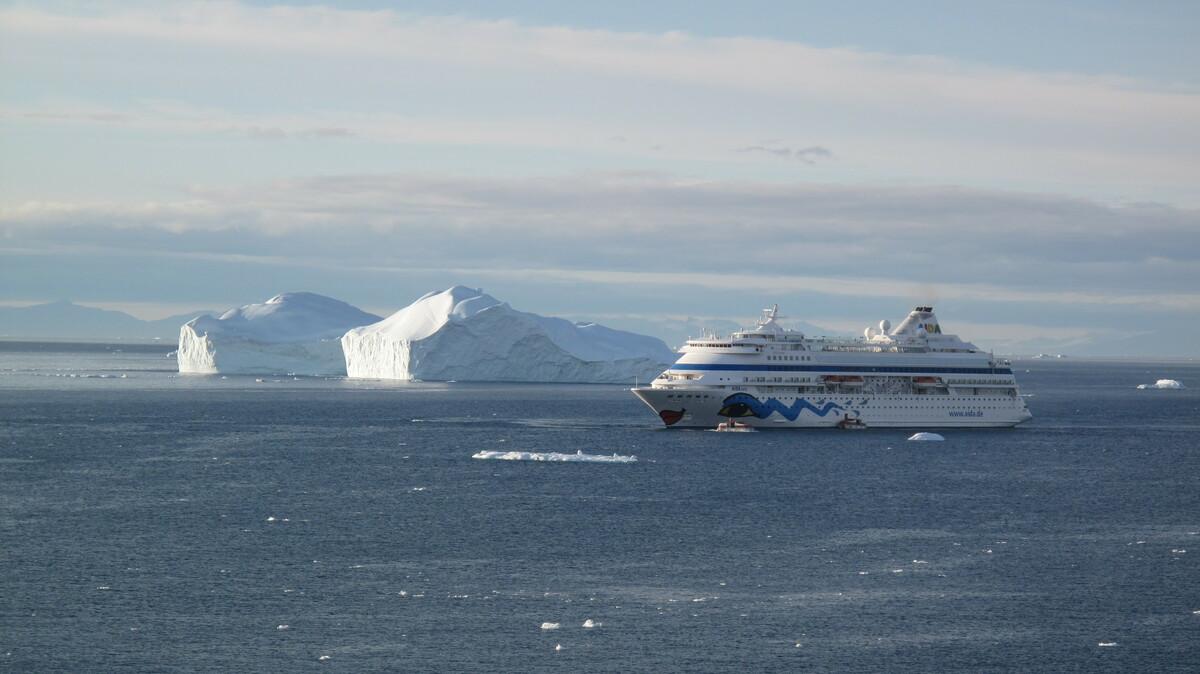 """AIDAcara vor Ilulissat mit 2 Eisbergen woraus man die Cara """"schnitzen"""" könnte"""